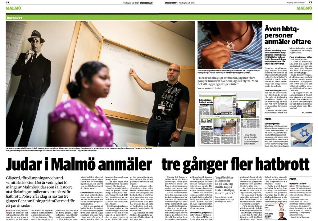Judar i Malmö anmäler tre gånger fler hatbrott