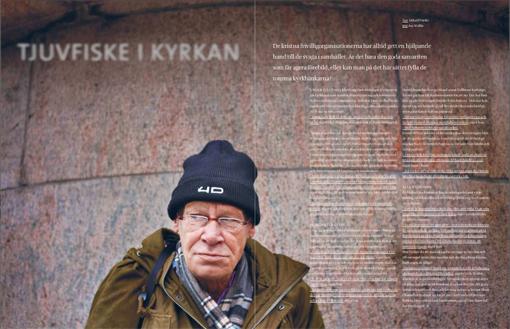 Kyrkor i Malmö försöker värva hemlöse Hans Olsson själ. De lockar med smörgåsar för att få med honom på deras Gudstjänster. Men än så länge har hans själ inte nappat. Foto: Åsa Wallin.